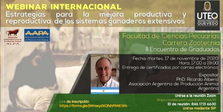 II WEBINAR INTERNACIONAL: ESTRATEGIAS PARA LA MEJORA PRODUCTIVA Y REPRODUCTIVA DE LOS SISTEMAS GANADEROS EXTENSIVOS